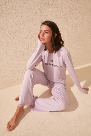 Trendyol Lila Print Detailed Knitted Pajama Set dámské Lilac XL