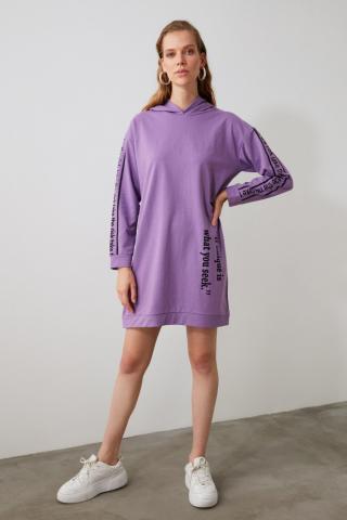 Trendyol Lila Printed Knitted Sweat Dress dámské Lilac M