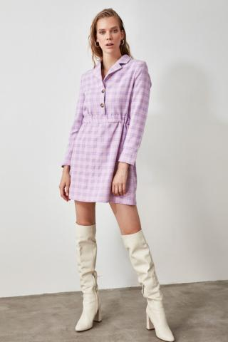 Trendyol Lila Shirt Collar Button Dress dámské Lilac 34