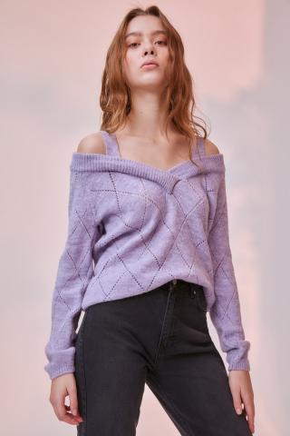Trendyol Lila Shoulder Outdoor Hanger Knitwear Sweater dámské Lilac S