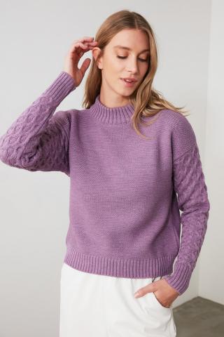 Trendyol Lila Sleeve Knitted Knitted Knitwear Sweater dámské Lilac S