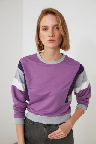 Trendyol Lila Sleeves Color Block Knitted Sweatshirt dámské Lilac S