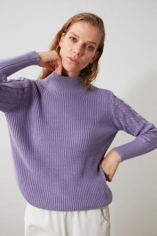 Trendyol Lila Sleeves Knitted Knitted Knitwear Sweater dámské Lilac S