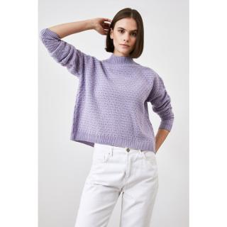 Trendyol Lila Steep Collar Knitwear Sweater dámské Lilac L