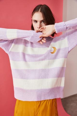 Trendyol Lila Striped Embroidery Detailed Knitwear Sweater dámské Lilac S
