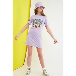 Trendyol Lila Tasmanian Monster Licensed Printed Knitted Dress dámské Lilac XS