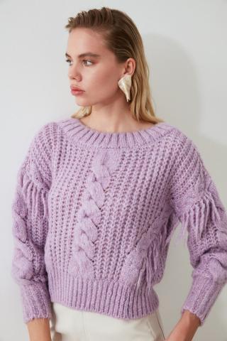 Trendyol Lila Tasseled Knit Sweater dámské Lilac S