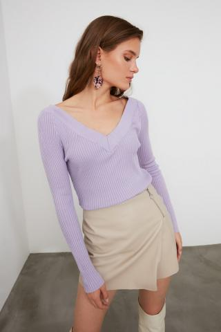 Trendyol Lila V Collar Suppository Knitwear Sweater dámské Lilac M