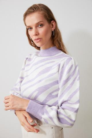 Trendyol Lila Zebra Patterned Knitwear Sweater dámské Lilac M