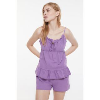 Trendyol Lilac Frilly Woven Pajamas Set dámské 34