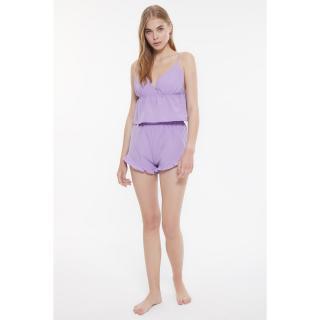 Trendyol Lilac Frilly Woven Pajamas Set dámské 36