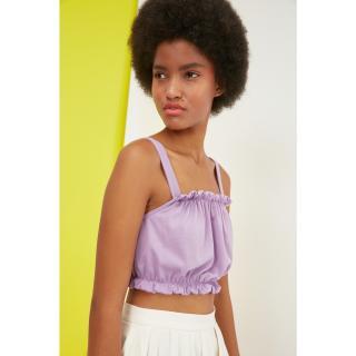 Trendyol Lilac Gathered Crop Knitted Blouse dámské XS