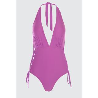 Trendyol Lilac Tie Detailed Swimsuit dámské 34