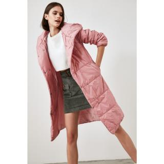 Trendyol Long Inflatable Coat WITH Powder Hood dámské powder pink S