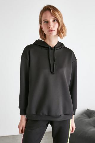 Trendyol Loose Knitted Sweatshirt with Black Oversize Hood dámské L