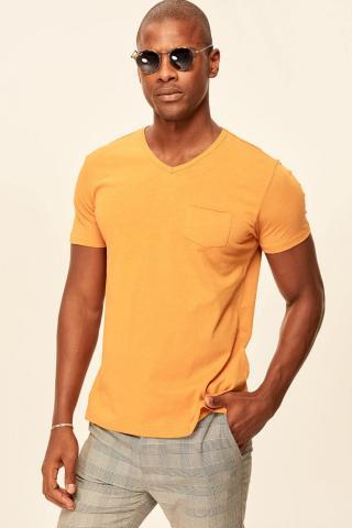 Trendyol Mens T-Shirt Narrow cut pánské Mustard S