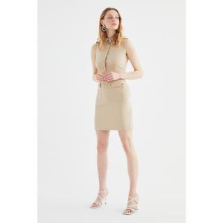 Trendyol Mink Button Detailed Dress dámské 40