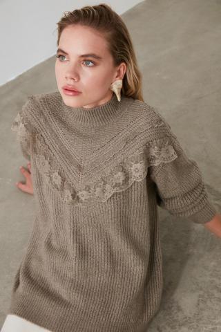 Trendyol Mink Dantelli Knit Sweater dámské M