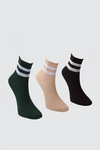 Trendyol Mink-Green-Black 3 Pack Knitted Socks dámské One size
