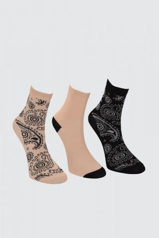 Trendyol Mink Printed 3 Pack Knitted Socks dámské One size