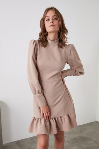 Trendyol Mink Sheer Neckline Flywheel Dress dámské 36