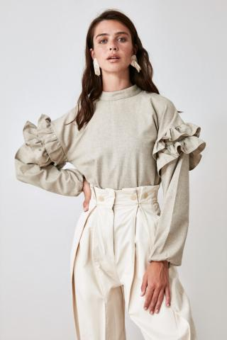 Trendyol Mink Sleeves Ruffly Blouse dámské 34