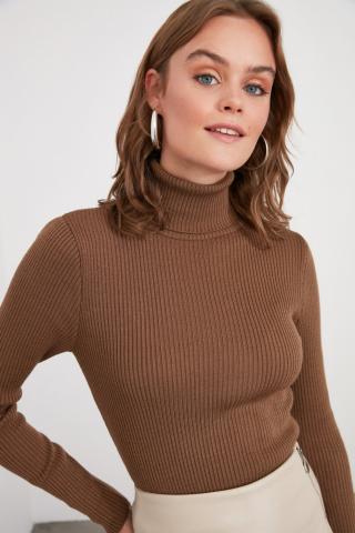Trendyol Mink Turtleneck Knitwear Sweater dámské L
