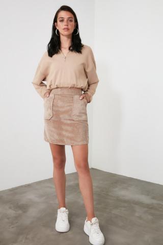 Trendyol Mink Velvet Skirt dámské 34