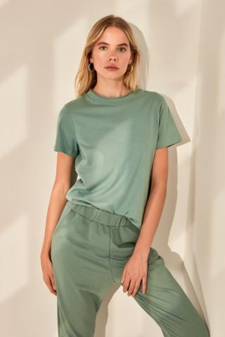 Trendyol Mint Basic Knitted T-Shirt dámské XS