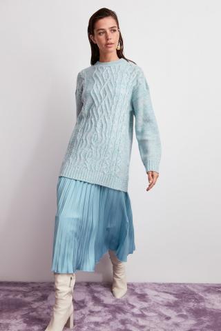 Trendyol Mint Bicycle Collar Hair Braided Knitwear Sweater dámské M