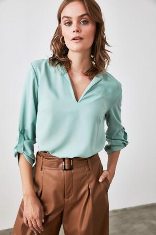 Trendyol Mint Collar Detailed Blouse dámské 34