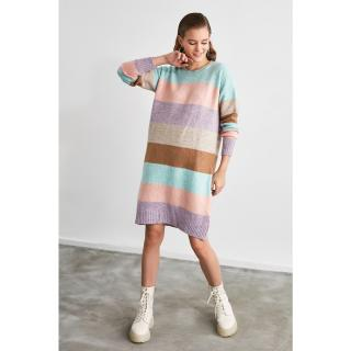 Trendyol Mint Color Block Knitwear Dress dámské S