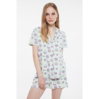 Trendyol Mint Cupcake Patterned Knitted Pajamas Set dámské S