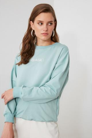Trendyol Mint Embroidered Bicycle Collar Basic Sweatshirt dámské XS