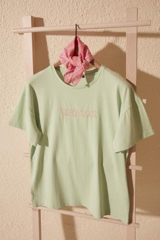 Trendyol Mint Embroidered Boyfriend Knitted T-Shirt dámské S