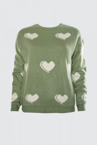 Trendyol Mint Heart Patterned Knitwear Knitwear Sweater dámské M