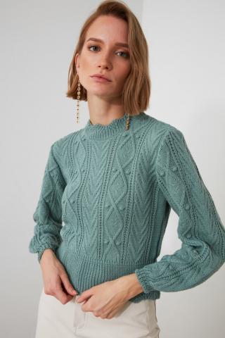 Trendyol Mint KnitTed Detailed Knitwear Sweater dámské L