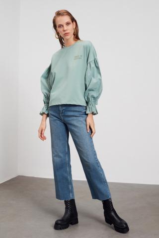 Trendyol Mint Poplin Detailed Printed Basic Knitted Sweatshirt dámské S