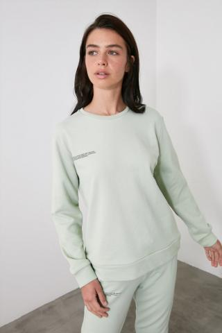 Trendyol Mint Printed 100% Organic Cotton Basic Knitted Sweatshirt dámské XS
