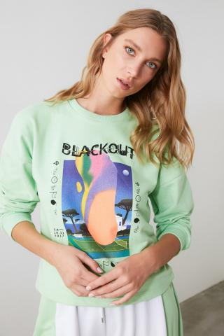 Trendyol Mint Printed Basic Knitted Sweatshirt dámské S