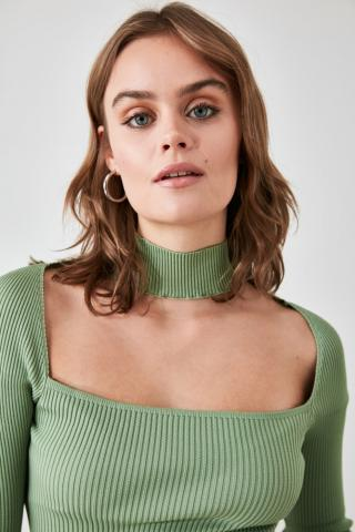 Trendyol Mint Square Collar Knitwear Sweater dámské M