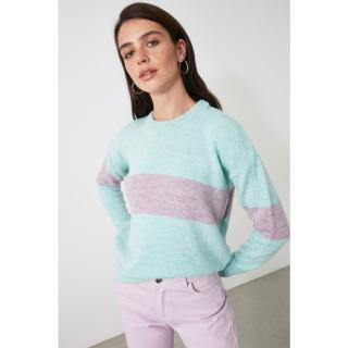 Trendyol Mint Striped Knitwear Sweater dámské S