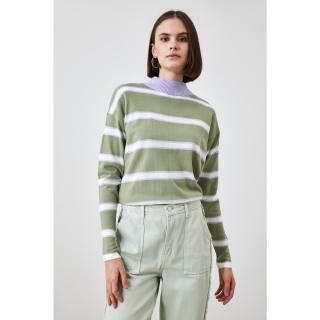 Trendyol Mint Striped Knitwear Sweater dámské S