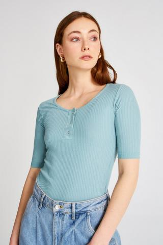 Trendyol Mint Stud Detailed Knitted Blouse dámské L