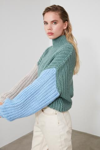 Trendyol Mint Upright Collar Color Block Knit Sweater dámské L