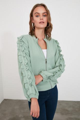 Trendyol Mint Zip Shirt dámské 34