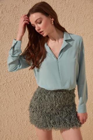 Trendyol Mint Zipper Detailed Blouse dámské 34