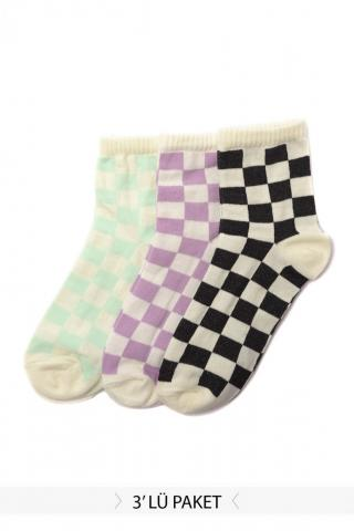 Trendyol Multi-Color 3-Checkered Knitting Socks dámské One size
