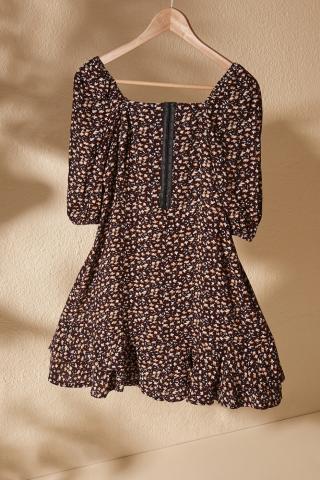 Trendyol Multi-Color Gipe And Agraf Detailed Volli Dress dámské 34