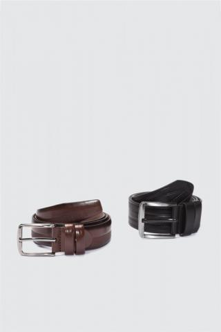 Trendyol Multicolored Male Textured 2-way F-Leather Belt 110 cm